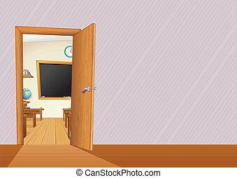 Schoolroom - Empty Classroom with Wooden Furniture, Desks,...