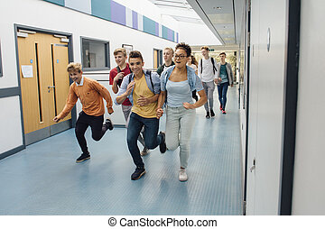 School's Out For Summer! - Teen students are running down...
