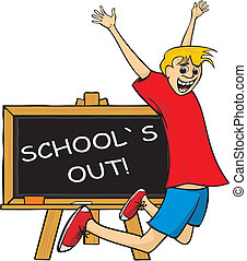 school`s out - jump for joy - school life - a student at the...