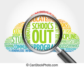 School's Out word cloud with magnifying glass, concept