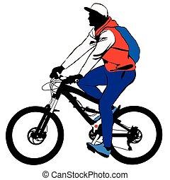 schooltas, fiets, maakt, reis, man