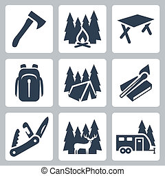 schooltas, het vouwen, kamperen, iconen, stellen, hertje, vector, kampvuur, schamelaanhanger, set:, tentje, bijl, mes, tafel