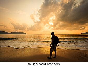 schooltas, silhouette, zonopkomst, zee, man
