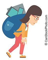 schooltas, vrouw, devices., volle