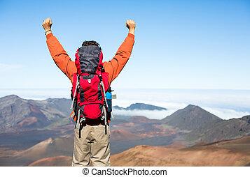 schooltas, wandelaar, het genieten van, mountain., hoogste mening