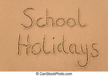schoolvakantie, in, zand