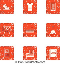 Schoolwork icons set, grunge style - Schoolwork icons set....