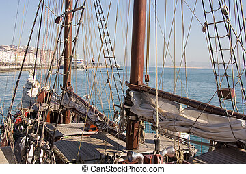 schooner at the Santader bay - schooner at the Santander...