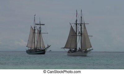 schooner battle 01 - Two sailing vessel