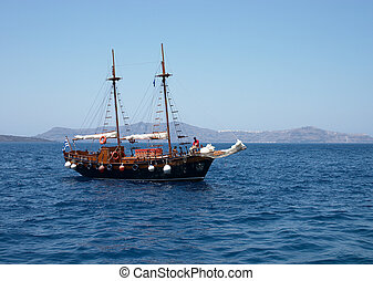 Schooner - A schooner in the Santorini caldera, Greece.