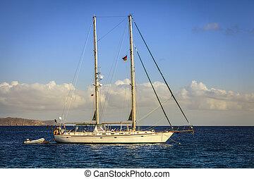 Schooner at Caribbean Sea in British Virgin Islands