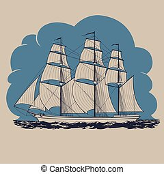 Three-masted sailing ship traveling in the sea and having tour to distant lands and countries vector illustration