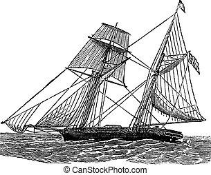 Schooner, vintage engraved illustration. Schooner sailboat at sea. Trousset encyclopedia (1886 - 1891).