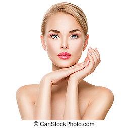 schoonheid spa, jonge vrouw , verticaal, vrijstaand, op wit