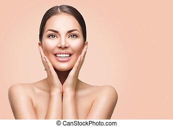 schoonheid spa, vrouw, met, perfecte huid