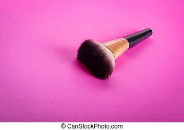schoonheidsmiddel, aan het dienen, borstel, make-up