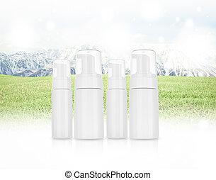 schoonheidsmiddel, landscape, panorama, sneeuw, berg, room, shampoo., groene, schuim, gras, product