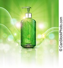 schoonheidsmiddel, rays., zon, kruiden, mal, groene handel, flessen, zeep, gel., shampoo, bevordering, realistisch, vector, groene, communie, wensen, pomp, vial, transparant, achtergrond, reclame, 3d