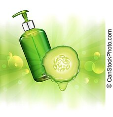 schoonheidsmiddel, rays., zon, mal, zakelijk, flessen, zeep, gel., shampoo, bevordering, realistisch, sappig, vector, groene, communie, wensen, pomp, vial, transparant, achtergrond, reclame, 3d, komkommer
