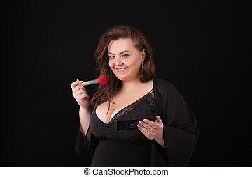 schoonheidsmiddel, size., achtergrond, haar, plus, zelf, makeup, bodysuit., model, het poseren, borstel, vrouwtje zwarte, meisje, xxl, glimlachen gelukkig