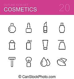 schoonheidsmiddelen, vector, schets, pictogram, set