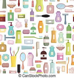 schoonheidsverzorging, verwant, set, achtergrond., hygiëne, symbool, seamless, patt