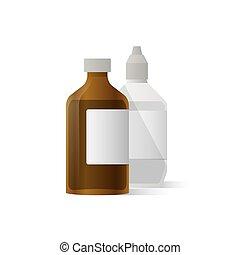 schoonmaken, medisch, wond, illustratie, achtergrond., vector, fles, witte , concept.