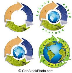 schoonmaken, milieu, -, conceptueel, recyclend symbool