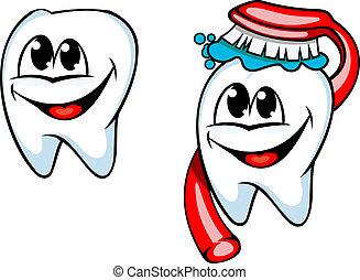 schoonmaken, tand, met, tandenborstel en plakmiddel