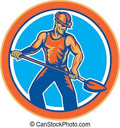 schop, mijnwerker, steenkool, retro, hardhat, cirkel