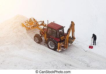 schop, sneeuw, rood, poetsen, tractor man