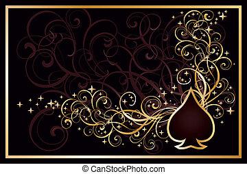schoppen, casino, kaart, vector, gouden