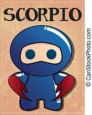schorpioen, ninja, zodiac, meldingsbord