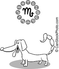 schorpioen, zodiac hond, spotprent, meldingsbord