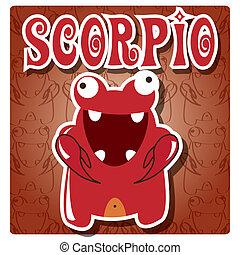 schorpioen, zodiac, monster, meldingsbord