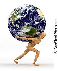 schouder, aarde, op