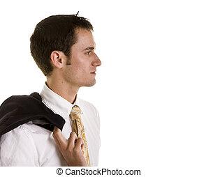 schouder, het kijken, jonge, jas, bovenkant, man