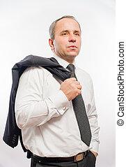 schouder, jas, zijn, zakelijk, op, hand, zak, vasthouden, man