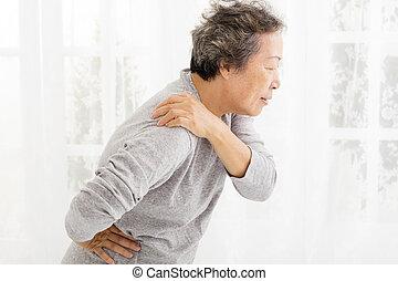 schouder, lijden, vrouw, pijn, senior