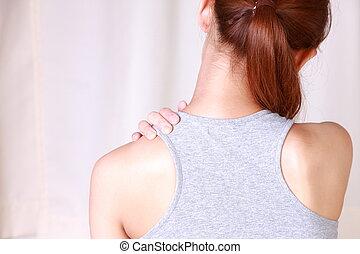 schouder, zelf, masseren