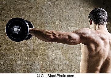 schouders, man, opleiding, gewichten, het tilen