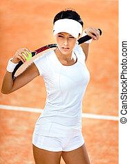 schouders, vrouw, haar, atletisch, tennis bal, houdt, racket