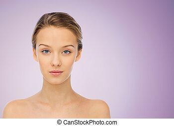 schouders, vrouw, op, jonge, gezicht, blote, viooltje