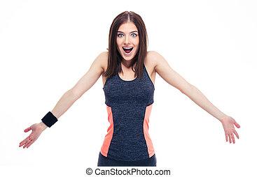 schouders, vrouw, sportief, haar, jonge, zijn schouder op het halen