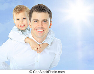 schouders, zijn, de holdingszoon van de vader