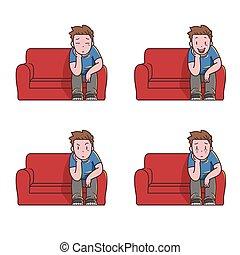 schouwend, alleen, tv