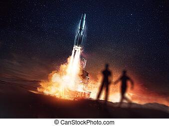 schouwend, mensen, raketlancering