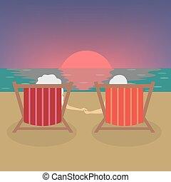 schouwend, oude mensen, sunset.