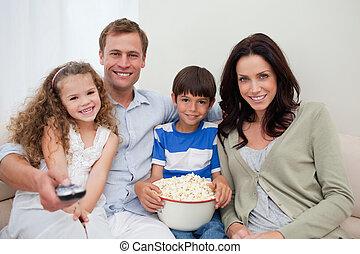 schouwend, samen, film, gezin