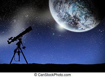 schouwend, telescoop, weg, wilky